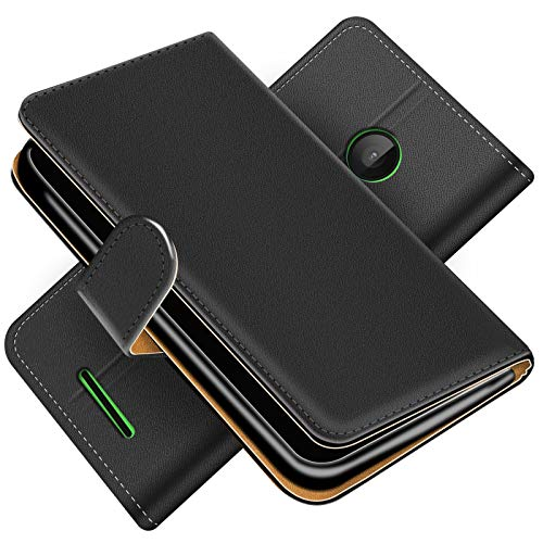 Conie Handytasche für Microsoft Lumia 532 Cover Schutzhülle im Bookstyle aufklappbare Hülle aus PU Leder Farbe: Schwarz