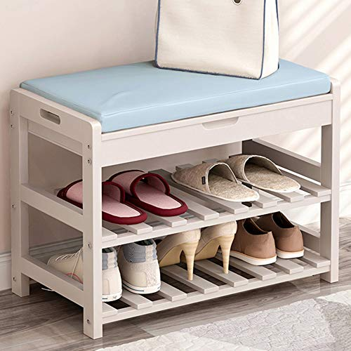 ZXQZ Hocker Massivholz Schuhe Lagerung Hocker Schlafzimmer Tür Mund Lagerung Lagerung Lange Fuß Leder Hocker (Farbe : Blau, größe : 30x45x53.5cm)
