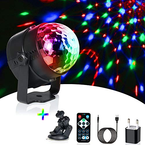 Discokugel LED Party Lampe, URAQT 9 Farbe LED Party Licht mit Mini Bluetooth Musik & Weißen Kappe für Kinder, Kinderzimmer, Partei, Geburtstagsfeier, Bar, DJ, Karaoke, Weihnachten, Hochzeit, Club
