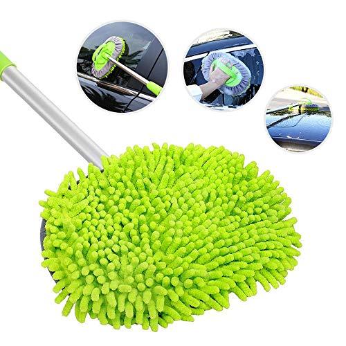 Volwco Einziehbare Auto-Wischmopp-Bürste, 2 in 1, Mikrofaser, Autowäsche, Lange Wischmopp, abnehmbar, 180° drehbar, zum Waschen von Autos, LKW, Wohnmobil