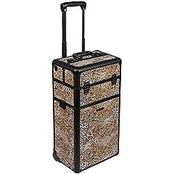 Trolley Pilotenkoffer Beauty Case 2 Rad 60l 3-D Oberfläche - schwarz Leopard