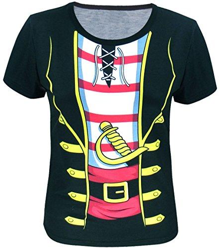 Funny World Maglietta T-Shirt Costume da Pirata di Donna (L)