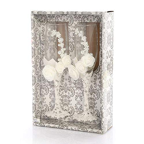 Gouxia74534 bicchiere da vino in vetro per matrimonio champagne bicchieri da regalo per anniversario di matrimonio