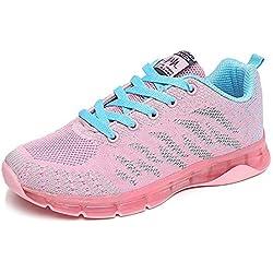 Zapatos para Correr Mujer Zapatillas de Deportivo Tejer Sneakers de Caminar Jogging Low Top Calzado Knit Transpirables Fitness Comodos Rosa 37