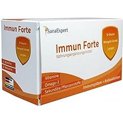 SanaExpert Immun Forte, Multivitaminpräparat mit Omega-3-Fettsäuren, Beta-Glukan, Marigold-Extrakt, Lycopin und Lutein, 90 Kapseln