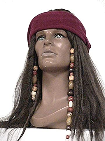 Deluxe Dark Brown Pirate Wig Jack Sparrow Captain Hook Buccaneer