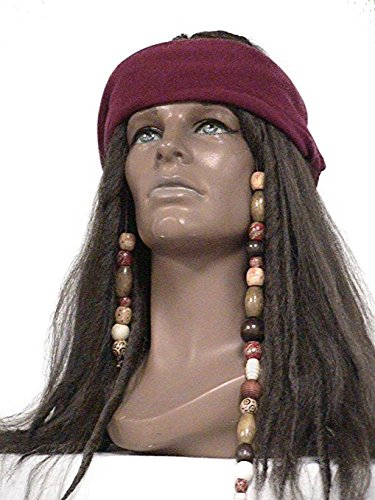 Deluxe Dark Brown Pirate Wig Jack Sparrow Captain Hook Buccaneer Costume Wig (Dark Brown) by Wig America (Sparrow Pirate Captain Jack Deluxe)