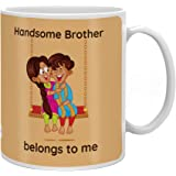 Indigifts Cotton Crystal Rakhi , Handsome Brother Quote Printed Beidge & White Mug 330 Ml,Roli, Chawal & Greeting Card For Me