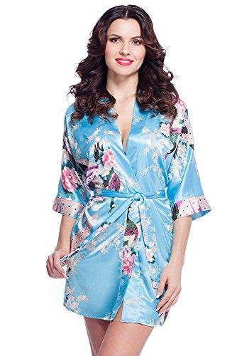 Edler Morgenmantel Kimono aus Satin Größen S-XXL VA52/Hellblau