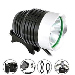 Linterna de Cabeza Comunite Con LED CREE XML T6 de 1200Lúmenes, Recargable,Con Batería de 5200 mAh,Resistente al Agua, Ideal Para Ciclismo, Montaña y Senderismo