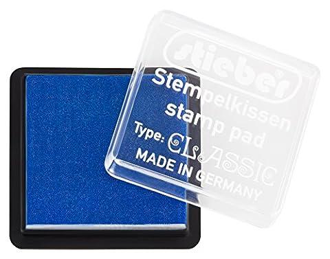 stieber® Mini-Stempelkissen mit Schnappdeckel, Gehäuse ca. 41x41 mm, Fasermaß ca. 34x34 mm *Bitte Farbe auswählen* (BLAU)