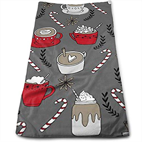 QIAOJIE Yoga Mats Hot Chocolate Christmas Peppermint Latte Microfiber Travel & Sports Towel, Ultra Compact, Lightweight, Absorbent and Fast Drying Towels, Ideal for Gym,Fitness, Exercise, Yoga