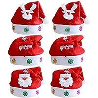 6pcs unisex hombres mujeres Navidad Santa Claus gorras sombrero con decoración de Navidad para adultos
