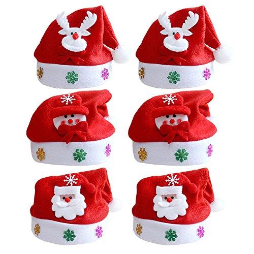 Cappellini Natale,Vococal 6PCS Unisex Uomini Donne Babbo Natale Cappello Cappello di Natale Cappelli con Decorazioni Natalizie per Adulti