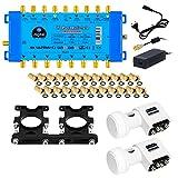 Multischalter pmse 9/8 HB-DIGITAL 2x SAT bis 8 x Teilnehmer / Receiver für Full HDTV 3D 4K UHD + Quattro LNB 0,1dB