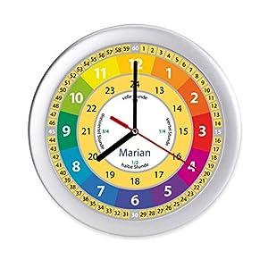 Lernuhr bunte Kinderzimmeruhr Uhr mit Namen Kinder Wanduhr