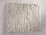 Tisca GRÖNLAND SKY handgewebter handweb teppich für das Wohnzimmer, Esszimmer, Schlafzimmer und die Küche geeignet (Muster, 35 creme grau)