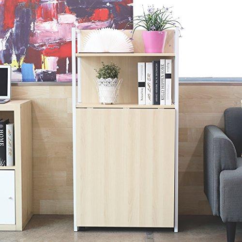 HOMFA Mesa extensible con estantes Mesa multimedia Escritorio de la computadora plegable con compartimentos Color madera clara