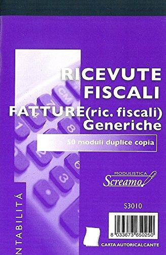 Ricevute fiscali generiche cm. 10x15 conf. 20 blocchetti