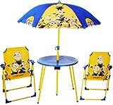 Unbekannt 4 TLG. Set: Sitzgruppe - Tisch + 2 Kinderstühle + Sonnenschirm -  Minion - Ich einfach unverbesserlich  - für Kinder - Campingstuhl - Klappstühle / kippsich..