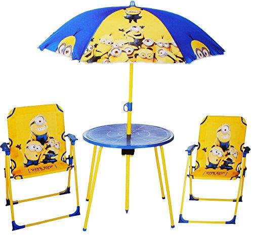 Tisch Sonnenschirm Set (4 tlg. Set: Sitzgruppe - Tisch + 2 Kinderstühle + Sonnenschirm -