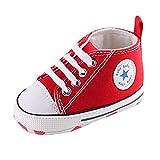 Zapatos del Niño de La Lona Inferior Suave del Bebé (12cm: 6-12 meses, rojo)