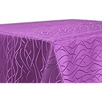 Tischdecke, FARBE wählbar, Streifen Damast Textil, Bügelfrei, Rund 135 cm, Lila
