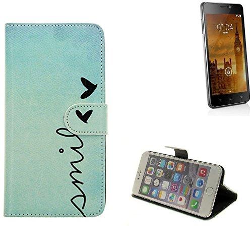 K-S-Trade 360° Funda Smartphone para Kazam Trooper 450L, Smile'   Wallet Case Flip Cover Caja Bolsa Caso Monedero BookStyle