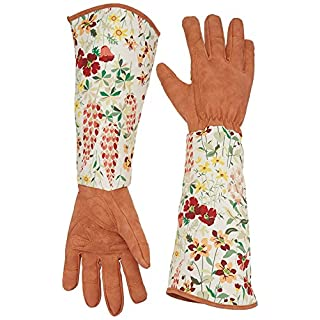 QEES Womens Gardening Gloves, PU Leather Garden Gauntlet with Long Sleeves to Protect Your Arms Until The Elbow, Perfect as Gardening GiftsYLST01