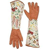 Qees - Guantes de piel de jardinería YLST01 para mujer con estampado floral y mangas largas de poliéster a prueba de torceduras para proteger los brazos hasta el codo