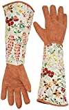 QEES Leather Gardening Gloves with Thorn Proof Garden Gauntlet for Ladies with Long Polyester Print Floral Sleeves to Protect Your Arms Until the Elbow YLST01