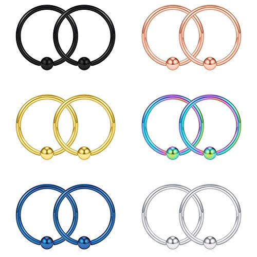 Acefun 16G 12mm Captive Bead Piercing Ring Stainless Steel Nose Septum Tragus Daith Helix Lip Eyebrow Hoop Rings 12PCS (Mix Color)