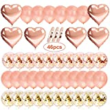AivaToba Rose Gold Luftballons Konfetti Ballons, Latexballons Helium Ballons Herzluftballon Herzballons für Geburtstag, Baby-Dusche, Hochzeit Dekoration, Party Deko