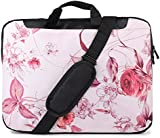 TaylorHe 15.6 inch 15 inch 16 inch Hard Wearing Nylon Laptop Carry Case Colourful Laptop Shoulder Bag with Patterns, Side Pockets Handles and Detachable Strap Pink Vintage Floral Patterns