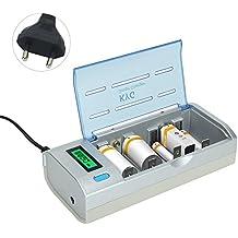 KYG Cargador de Pilas para Ni-MH / Ni-Cd de AA / AAA / SC / C / D / 9V Cargador de Batería Recargable con Pantalla LCD Funciones de Descarga
