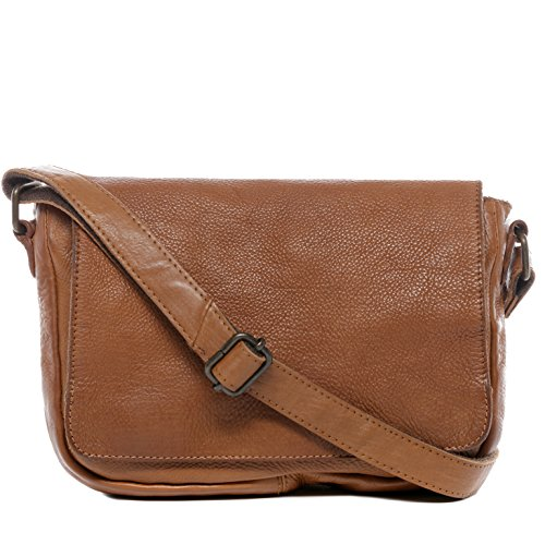 BACCINI Schultertasche echt Leder DARIA Handtasche Schultergurt Umhängetasche Ledertasche Damen braun - Hobo Leder-camel