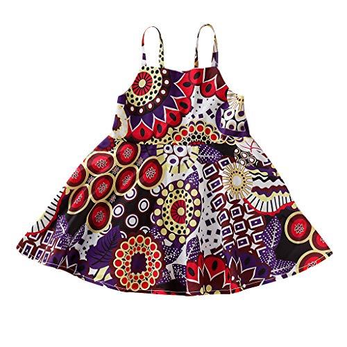 National Bohemian Kostüm - squarex Kleinkind Kinder Baby Mädchen Sleeveless National Style Bohemian Flower Dress Prinzessin Sling Beach Dresses Schön
