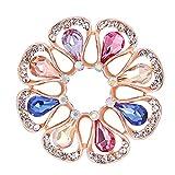Baoblaze Boucle Anneau Écharpe Clip Cristal Fleur Broche Foulard Bijoux - 2