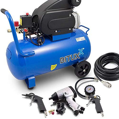 BITUXX® Druckluftkompressor 50L Luftdruck Kompressor 50 Liter + 8 teiliges Druckluft Set Reifendruck Ausblaspistolen Radwechselset Schlagschrauber Schlauch 10m Druckluftschrauber 4 Schlagnüsse