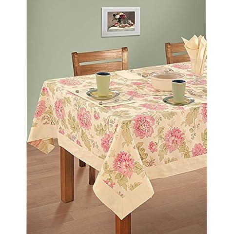 Multicolori variopinte del cotone della molla Tovaglie floreali per le tabelle di rettangolo di 60 x 90, Rich Cream Border
