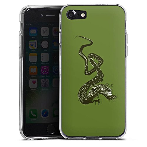 Apple iPhone X Silikon Hülle Case Schutzhülle Drache Tribal Chinesisch Silikon Case transparent