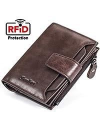 6066d102d1 Portafogli Uomo, Porta carte di credito in vera pelle di vacchetta genuina  Porta carte di credito extra capacità Bifold con…