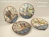 Orologio in ceramica rotondo con disegno vintage provenzale, diametro 30cm (4 immagini assortite)