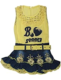 POPCORN Girls' A-Line Dress (Yellow, 2-3 Years)