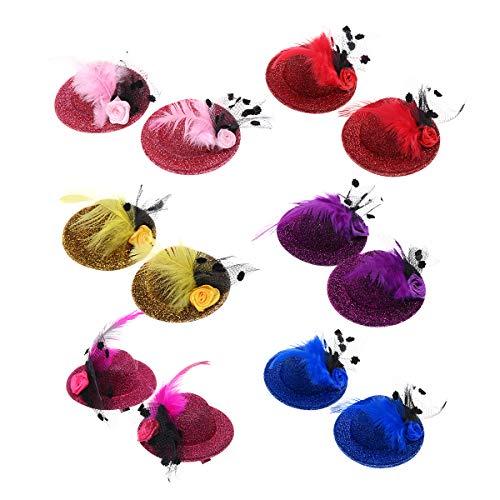 Lurrose Haarspange für Mädchen, 6 Paar, Glitzer, Feder, Dekoration, Mini-Hüte, Haarnadeln, Teeparty, Haarschmuck für Mädchen (Mini-hüte Für Frauen)