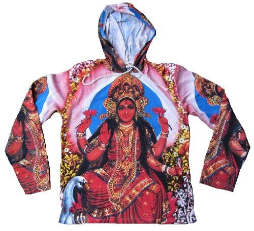 Kunst Hoodie (Ticila Herren T-Shirt Weiss Hoodie Kapuzen Hoody Hindu Götten Laksmi Ma Psychodelic Goa Trance Dj Beach Party Kunst Art Religion Star Designer Vintage Tattoo Design M 50)
