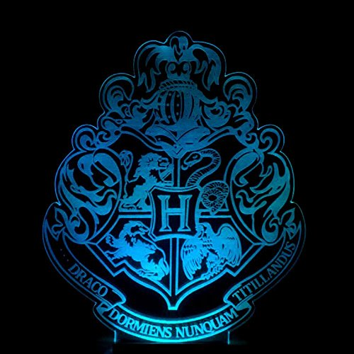 Wmshpeds Harry Potter Hogwarts escuela de colores insignia lámpara de escritorio pequeño 3D tocar control remoto luz de noche 3D regalo