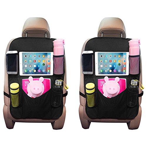 2 PACK Organizadores para Asientos de Coches de OMORC, Organizador Kick Mats de coches Funda para iPad soporte para pantalla táctil del Tablet iPad, Bolsillo múltiple para botellas, cajas del tejido,