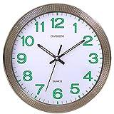 CursOnline Orologio da Parete al Quarzo Silenzioso Lancette e Numeri Fluorescenti D.31cm, Cucina, Salotto, Ufficio Cod.667