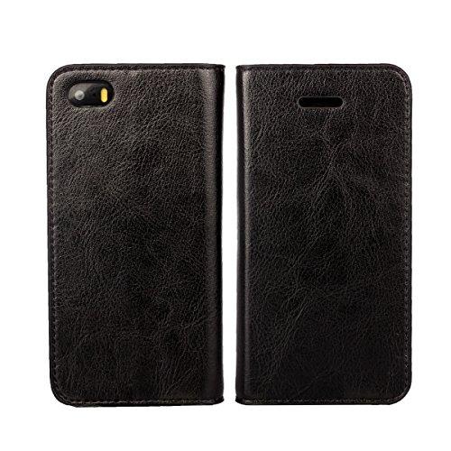 Copmob iPhone SE Hülle,Handyhülle iPhone 5 Hülle,Handyhülle iPhone 5S, Handyhülle Premium Slim Schutzhülle Echtleder Hülle Ledertasche mit [Premium Leder] [Kartenfach] [Standfunktion], Schwarz